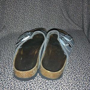 Birkenstock Shoes - Birkenstock Leather Silver Cork Sandal Size 36